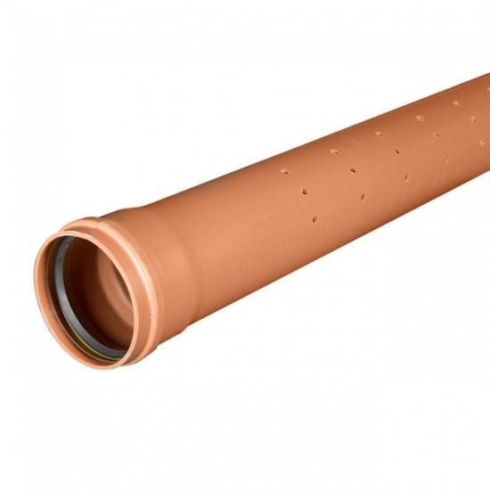 110mm x 3m Single Socket Half Perforated Drainage Pipe